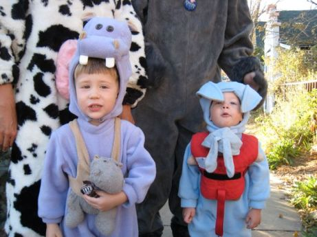 I forced them to wear the costume for a picture.