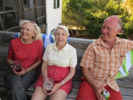 Nancy sitting with my step-mom and a very sunburnt Zeb.