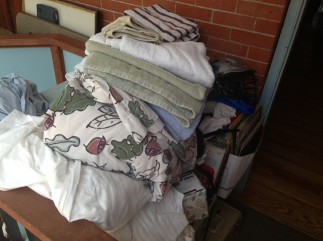 Piles of bedding.