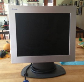 "17"" monitor, needs a DCIII cord which I accidentally purged. Oops. But there are tons of them out there, everywhere FREECYCLE."