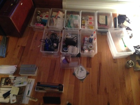 Shé is showing up tomorrow to organize. I'm getting a jump on it by clearing these I had these  office supply boxes that were inside the cabinet out. I can't possibly need this many supplies. Most of what I do is digital these days. CONSOLIDATE!
