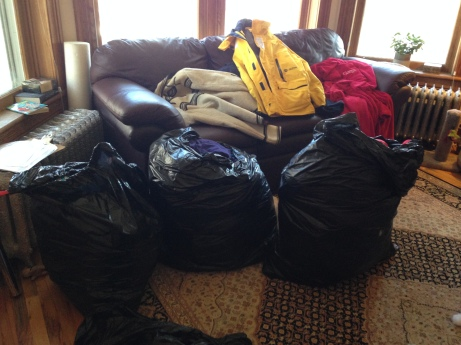 I had a mini-tantrum over the proliferation of garbage bags full of coats taking over my living room. Lonny is helping with Coats For Colorado, a coat drive for the needy. He got it all sorted and out of my pole room.