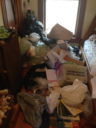 "The boys' room was a temporary space for ""bags of bags."" I'm sure I'll get in trouble for getting rid of some of them."