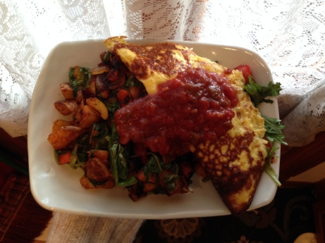 Raw sheep's milk aged Manchego omelet with home fries and seared greens. You must be a pole deity to get this treatment.