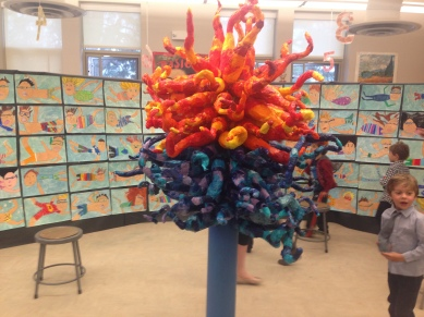 That's a papier maché Dale Chihuly that the 5th graders made. How cool is that?