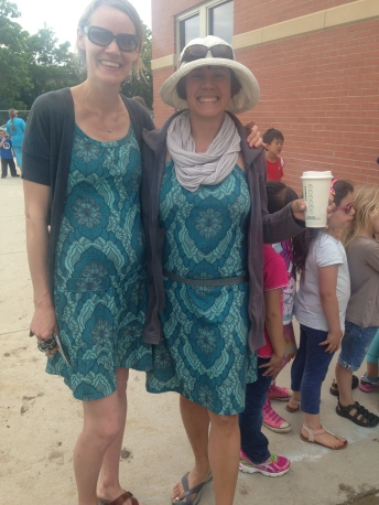Testiclese's teacher and I are wearing the same pattern! Everyone thought that was hilarious.
