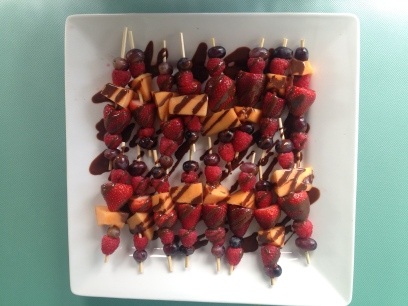 I kept it healthy with fruit skewers, cheese and pretzels. I'm tired of sweets being the only way we know how to celebrate.