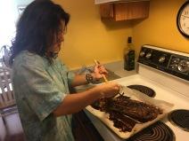 Seasoning the ribs